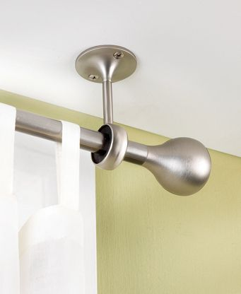 ::Apartment Dwelling:: Hanging drapes or curtains in hard-to-fit places is not a problem with these convenient ceiling mount brackets. Each bracket secures into the ceiling or wall to create a sturdy system of support for your hanging rod. Featuring a versatile matte finish, these metal brackets complement most styles of decor.