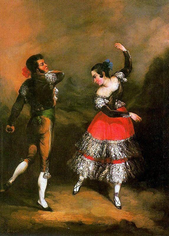 #EscenasCotidianasDeSevilla Maja y majo bailando. Obra de Andrés Cortés y Aguilar