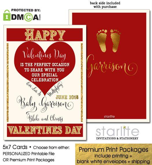 "A beautiful and proper occasion to announce to the world, your special celebration! This is my exclusive red and ""gold"" Valentines Pregnancy Announcement. This is a 2-sided design - back side features simulated gold baby feet prints and your family's last name.   http://starliteprintables.indiemade.com/product/valentines-pregnancy-announcement-card-valentines-pregnancy-reveal"