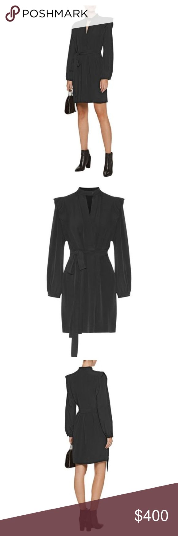 Isabel Marant Brad pleated crepe mini wrap dress Crepe de chine buttoned cuffs, wrap effect bodice, waist ties, pleated skirt, ruffle trims. Button fastening at front. Black. Isabel Marant Dresses Mini