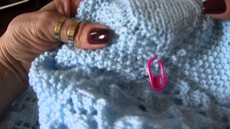 Amostra da manta azul em tricô Parte 5