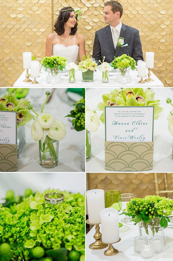 Emerald Green & White #Wedding  Special Event Rentals