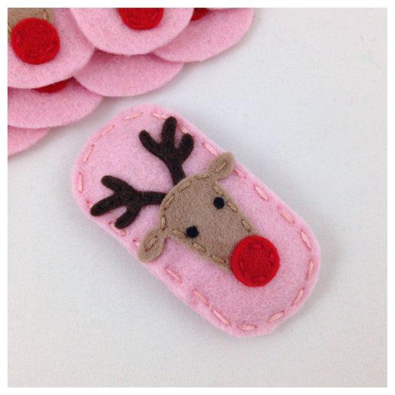 Felt Hair Clip Reindeer, Pink Hair Clip, Girls Hair Clip, Baby Hair Clip, Holiday Hair Clip, Rudolph Hair Clip
