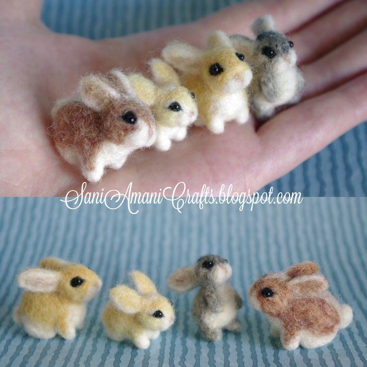 Needle felted bunny family miniature