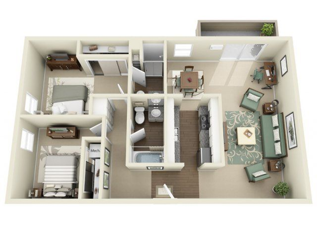 3D Floor Plan image 1 for the Bismark Floor Plan of Property THE GROVE
