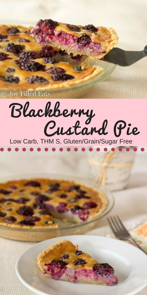 This Blackberry Custard Pie is such a pretty dessert. With a press in pie crust & blender custard it has just 10 minutes of prep time. Low Carb THM S via @joyfilledeats