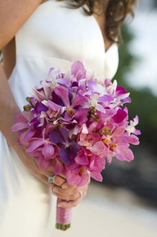 pink and purple orchid bouquet