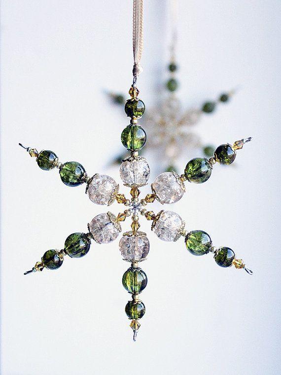 Green Home Decor - Set of 2 Moss Green and Nude Glass Beaded Snowflakes - Suncatcher - Housewarming Gift - Home Decor - Christmas Ornament
