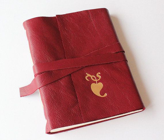 Red Leather Journal Sketchbook with Gilded Heart by GatzBcn