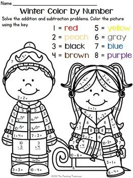 your students will love practicing addition and subtraction facts with these fun winter theme color by - Color Number Winter Worksheets