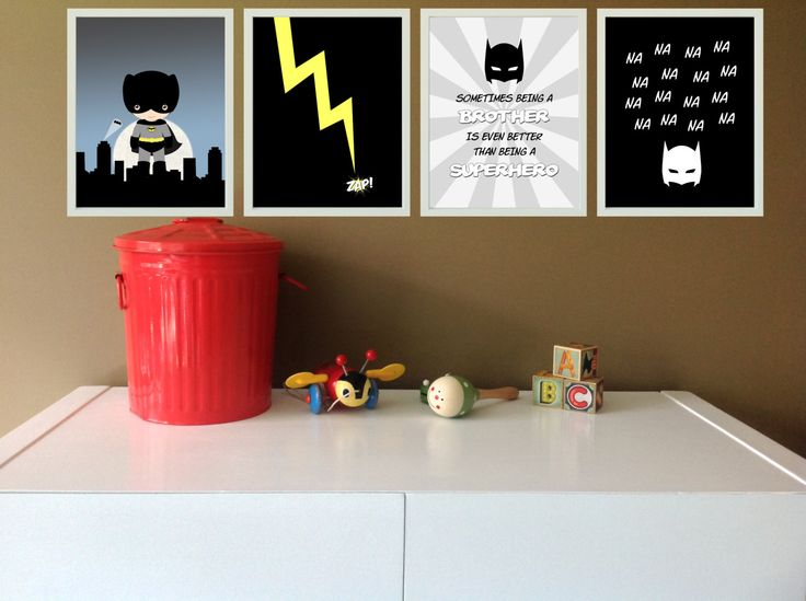 Superhero Wall Prints Set of 4  Batman Bedroom by MintImprint