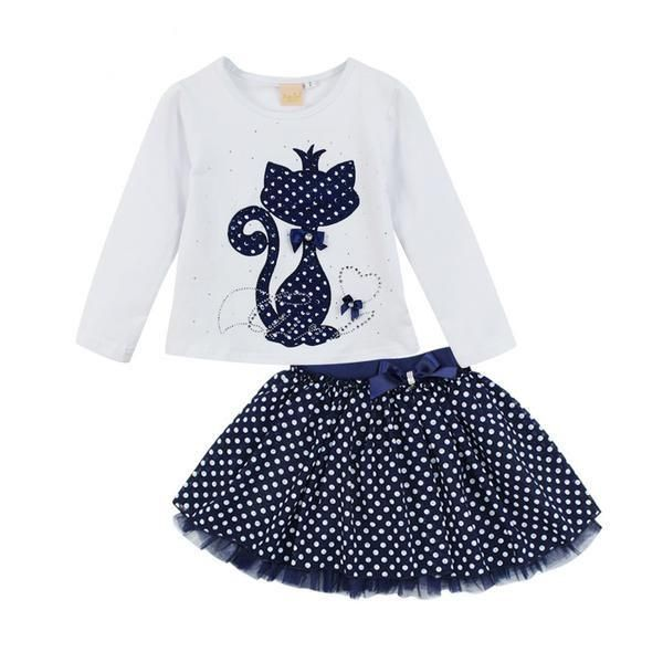 [HOT] Complete Spotted Kitty Top and Skirt Outfit!