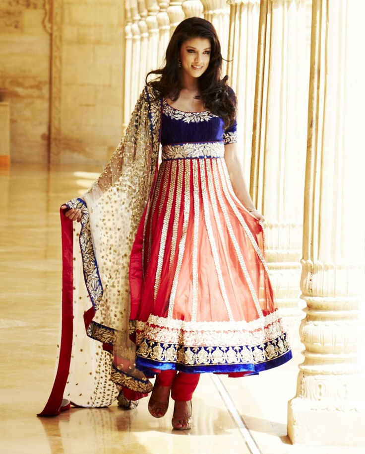 Pink anarkali Indian dress suit with embroidery by Kalki