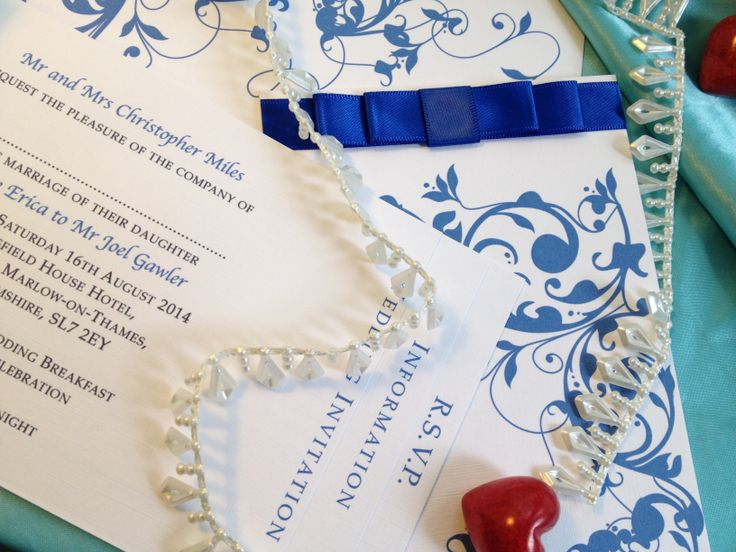 London Wedding Invitations Beautiful Bespoke Blue Vintage Chequebook With Dior Bow Handmade Luxury