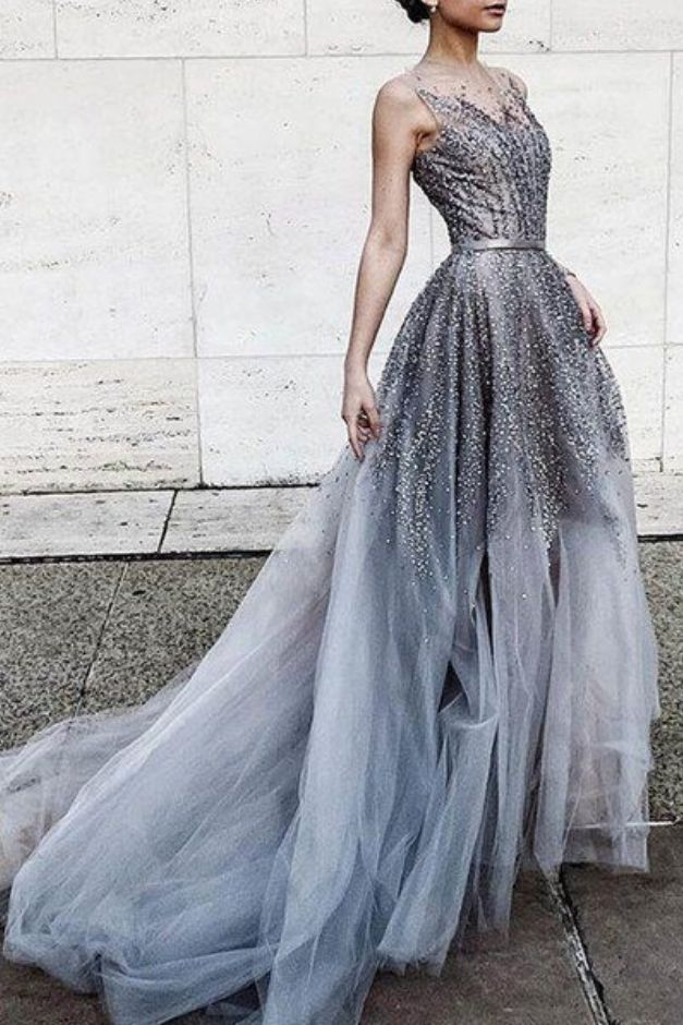 Gray tulle sequins round neck see-through long prom #prom #promdress #dress #eveningdress #evening #fashion #love #shopping #art #dress #women #mermaid #SEXY #SexyGirl #PromDresses