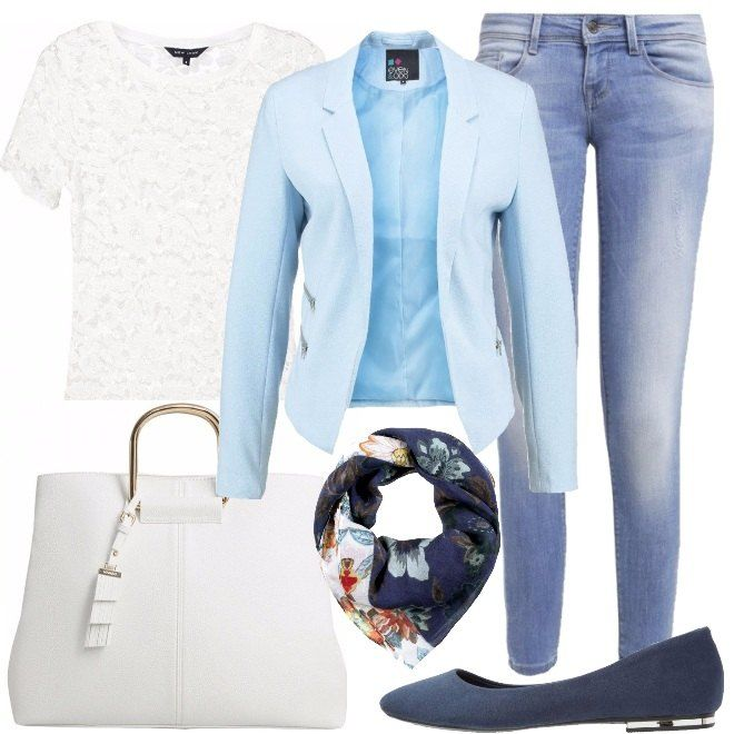 Una proposta casual, per una donna con un'anima romantica. I jeans chiari modello skinny sono abbinati alla maglia di merletto color crema, a maniche corte e con lo scollo arrotondato ed al blazer light blue. Completano, le ballerine color blu navy , la borsa bianca e la pashmina, che riprende le nuances del look.