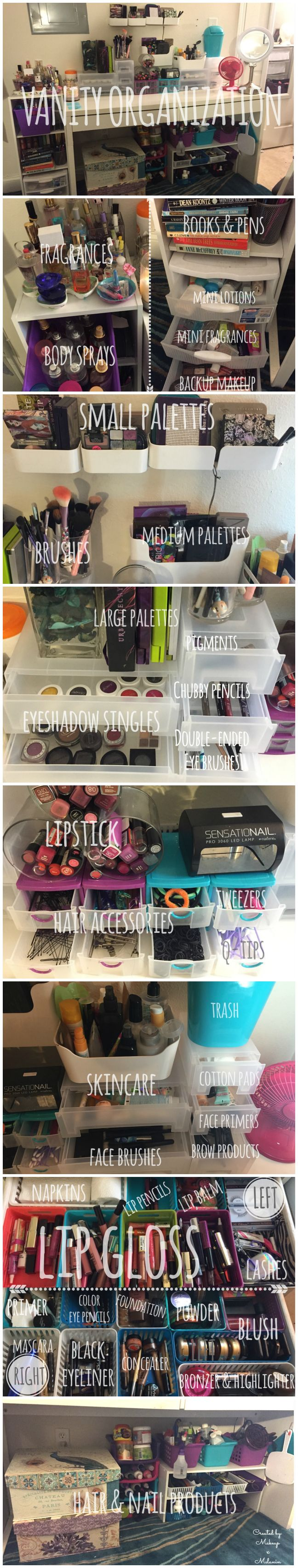 Vanity organization using items from Ikea, Target and Dollar Tree.