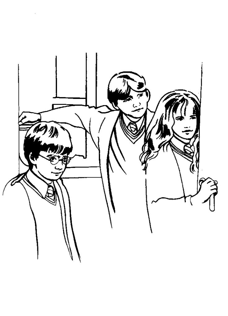 Harry Potter Ron And Hermione Coloring Pages