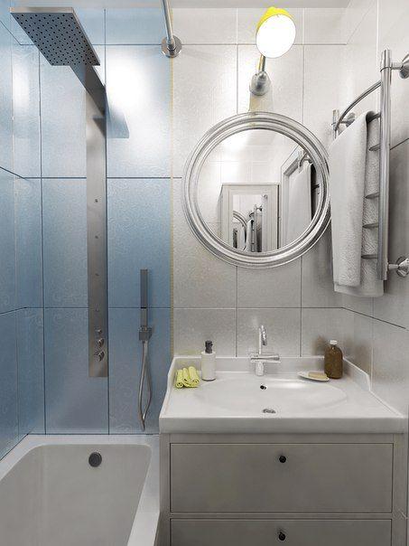 Кто просил практичных вариантов дизайна ванной? Ваше желание - для нас закон  Проект очень маленькой ванной комнаты. #МаленькаяВанная #ванная #сантехника #плитка