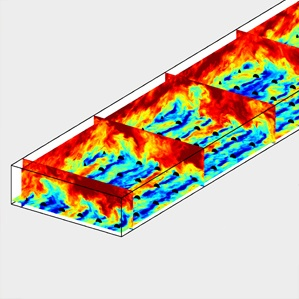 Modeling of the effects of turbulence on a windfarm.