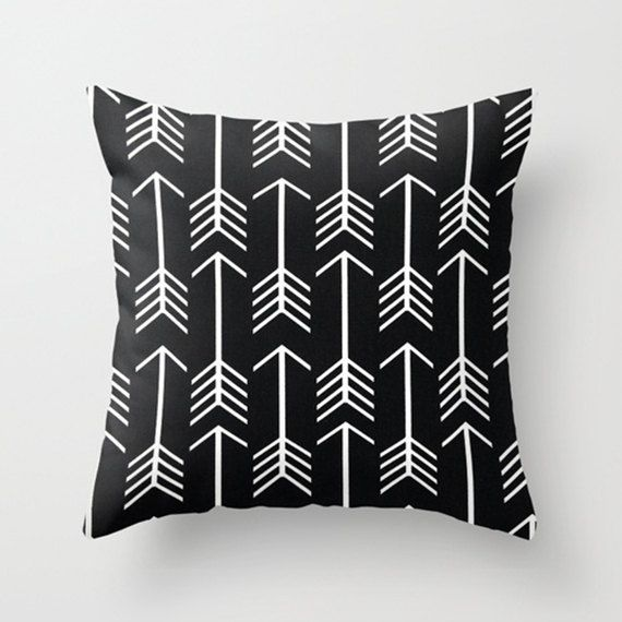Throw Pillow Cover   Boho Graphic Arrows   Black, Blue/Aqua Or Grey With  White Arrows