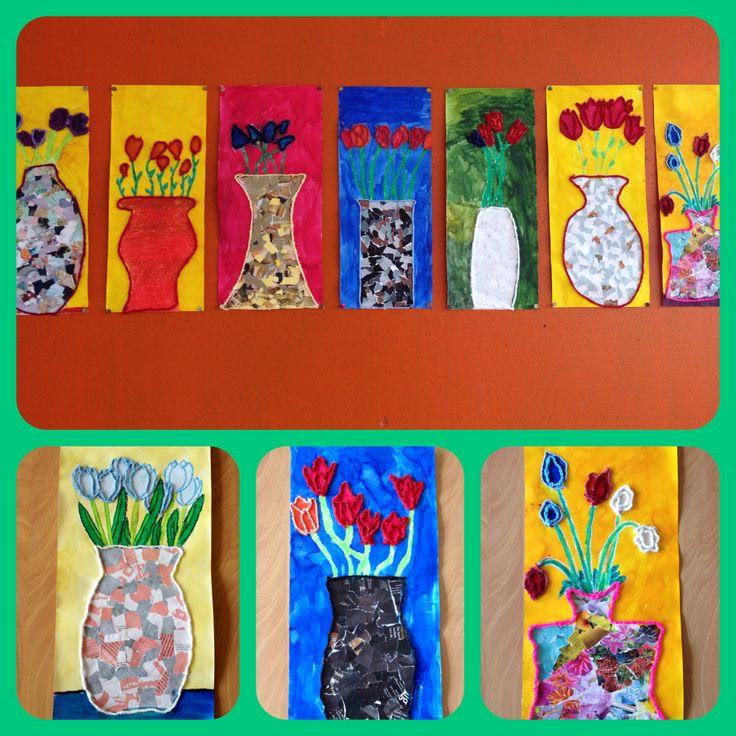 Inspired by... De zonnebloemen van Vincent van Gogh. Vaas met lentebloemen. De vaas is gemaakt van snippers uit tijdschriften, de bloemen getekend met wasco, ingekleurd met ecoline en omrand door draad (vingerhaken). #tijdschriften #wasco #ecoline #vingerhaken
