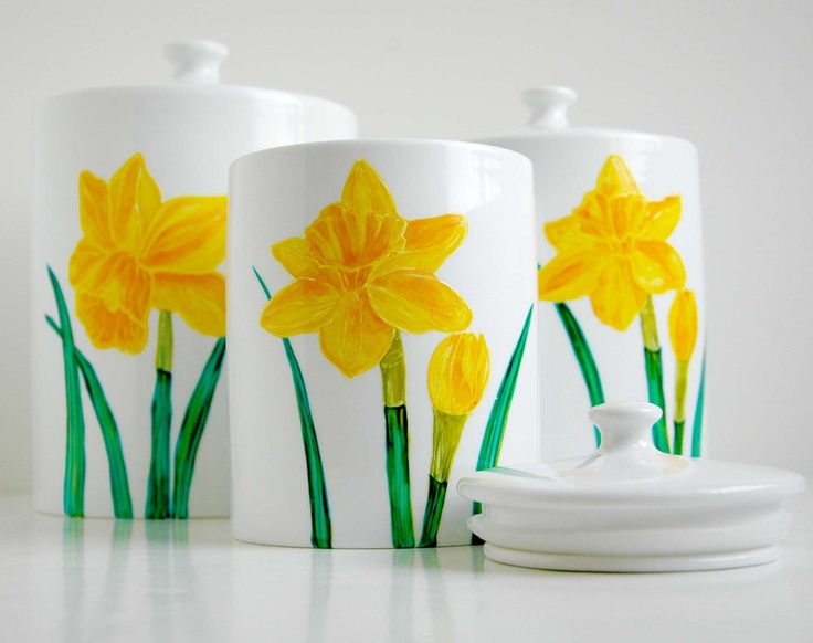 Yellow Daffodil Canister-Small Size by Mary Elizabeth Arts