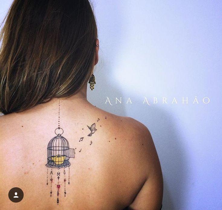 Tattoo artist : Ana Abrahao Bird and cage