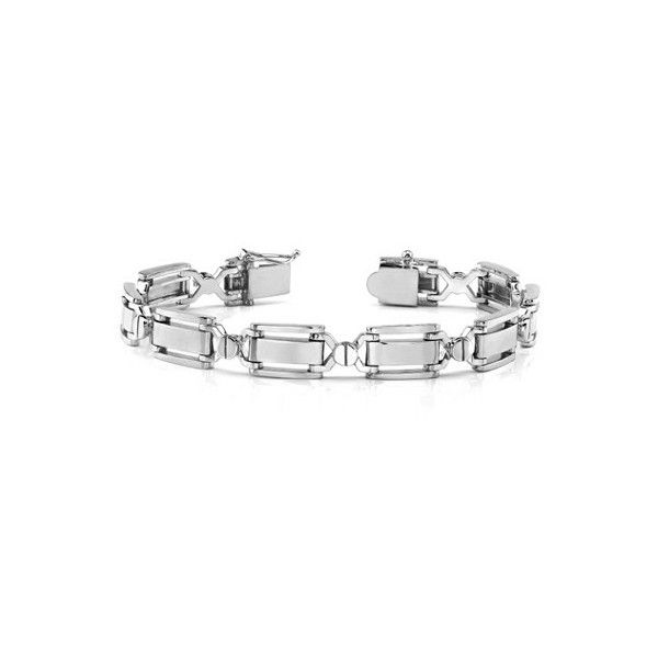 Designer 14K White Gold Men's Bracelet ($2,850) ❤ liked on Polyvore featuring men's fashion, men's jewelry, men's bracelets, mens watches jewelry, mens bracelets, mens 14k gold bracelets and mens white gold bracelets