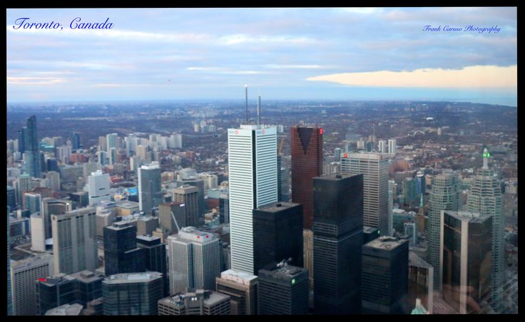 The financial district as seen from the CN tower, one of the tallest structures in the world.