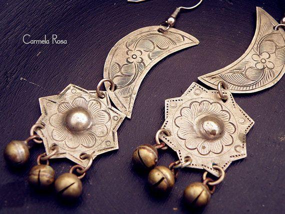 moon earrings gypsy earrings ethnic earrings by CarmelaRosa