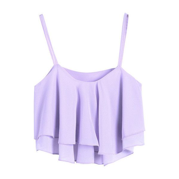 Ruffled layers Crop top Lavender ($19) ❤ liked on Polyvore featuring tops, shirts, crop tops, tank tops, tiered ruffle shirt, light purple crop top, tiered ruffle tank, crop top and shirts & tops