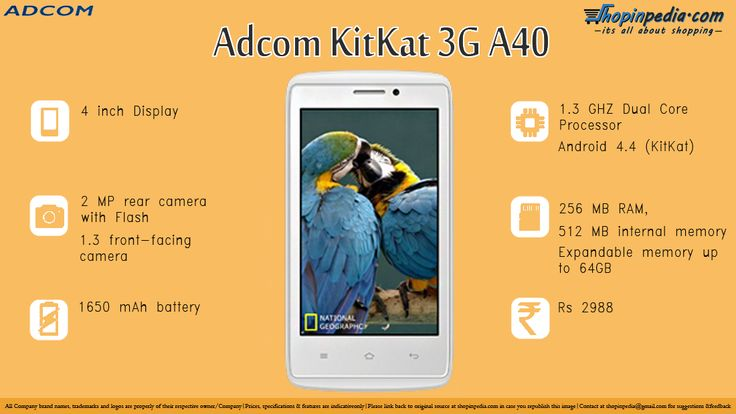 ADCOM KITKAT 3G A40 Specifications - Infographics– Infographics @ Shopinpedia
