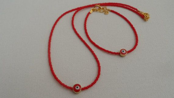 Red Evil Eye Necklace And Bracelet-Friendship by AccessoriesInLove