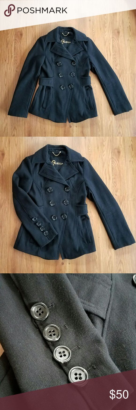Guess black wool pea coat Excellent used condition. Wool / polyestor blend. Waist length. Beautiful button detail on sleeves. Working pockets. Guess Jackets & Coats Pea Coats