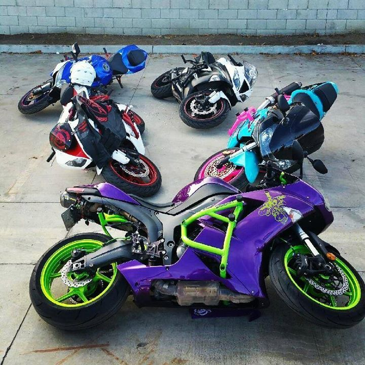 Green Purple Stunt bike & others