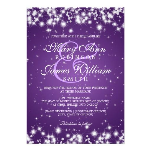 299 best Sparkling Purple Wedding Invitations images on Pinterest ...
