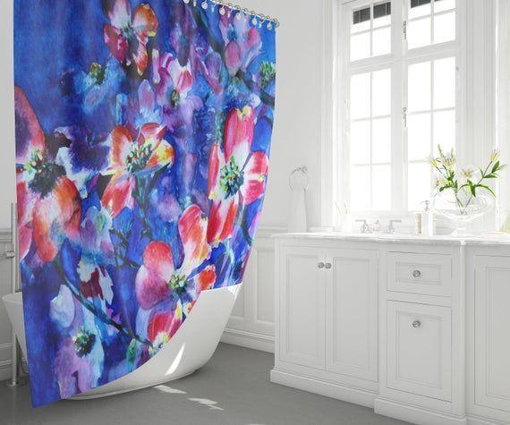 Blau Mit Roten Blumen Duschvorhang Original Aquarell Kunstwerk