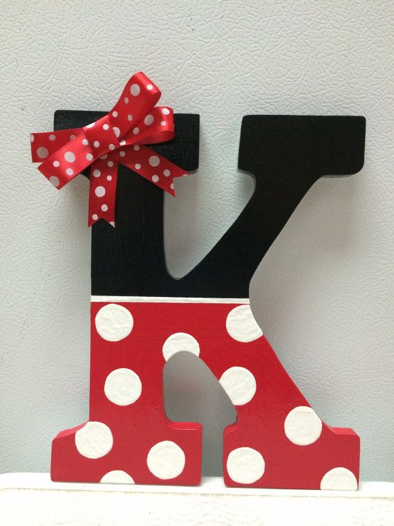 Minnie Mouse Hand Painted Wooden Letter by CrafteeThings on Etsy