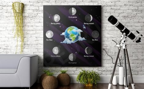 Plakat kosmos fazy Księżyca  Moon phases #poster #space #theme #planets #moon #stars