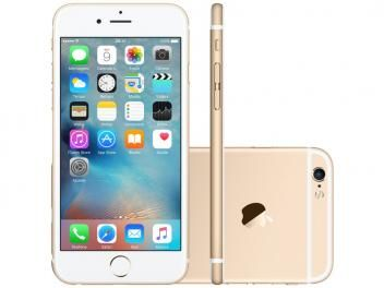 "iPhone 6S Apple 16GB Dourado 4G Tela 4.7"" Retina - Câm 12MP + Selfie 5MP iOS 9 Proc. Chip A9 3D Touch"