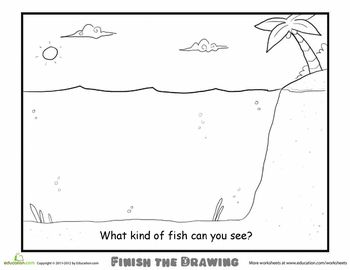 Worksheets: Finish the Drawing: What Kind of Fish Can You See?