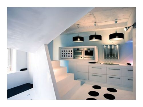 Wonderful Small Apartment Futuristic Interior Design With White Kitchen Table Sink Oven Stove Chandelier Stair