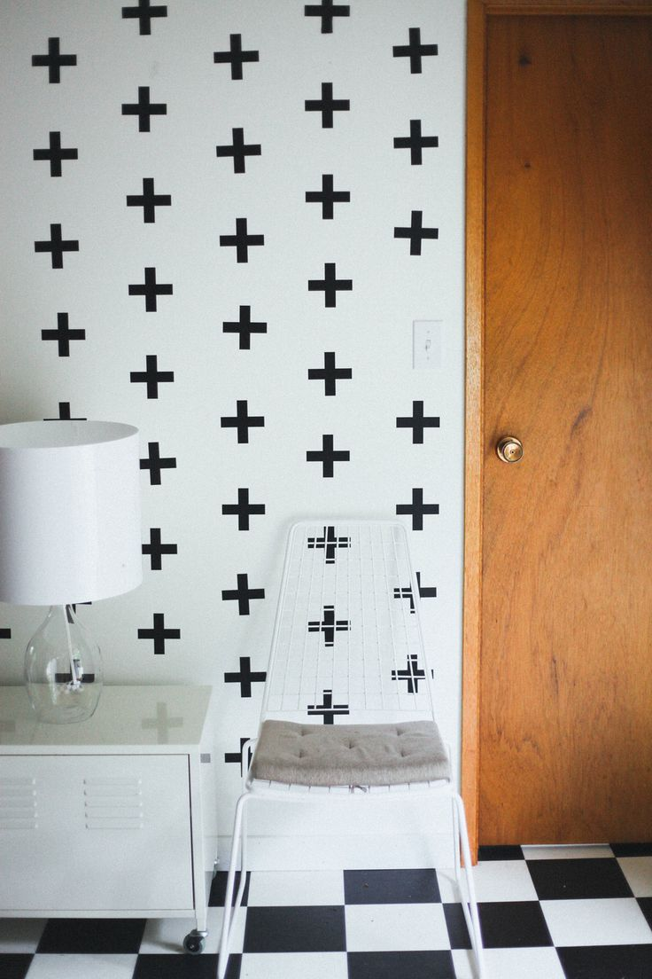 Via Uw Decals | Plus Sign Wall Decals | Black White Wood | Checkered Floor