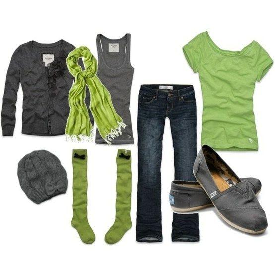 Green & Grey Fall outift - mcloveinstyle