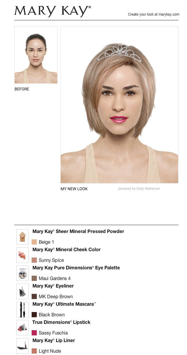 I just got a great new look using the FREE Mary Kay® Virtual Makeover. Try it out for yourself and then share it with all your friends! $129