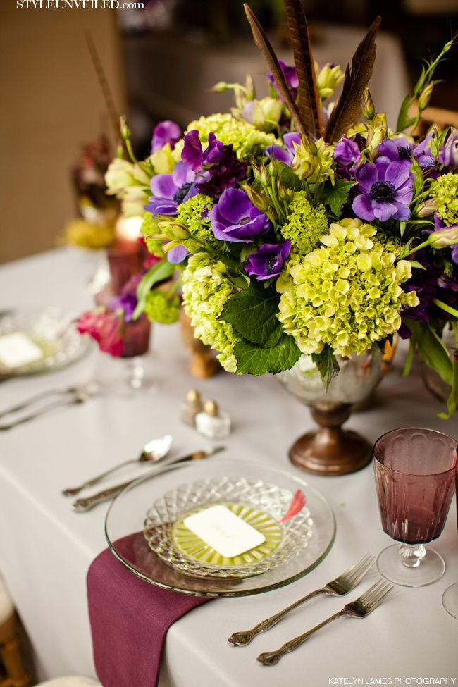 Gold and Purple Wedding Tablescape Ideas