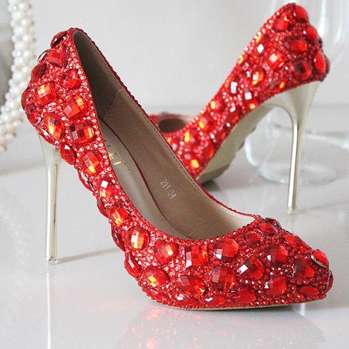 chaussures de soirée femme escarpin rouge aux strass chaussure talon pas cher