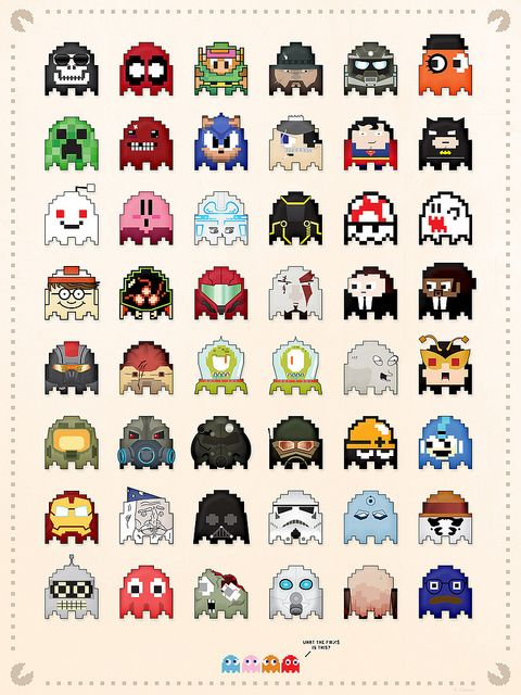 That's quite the extended ghostly family.(Pac-Man Ghosts by Dash Coleman.)