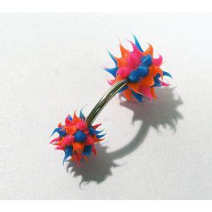 Koosh Ball Look Belly Button Bar Pierced BELLY Button Jewelry KOOSH Ball Style Neon Pink Blue Orange Body Jewelry Body Piercing (R127)